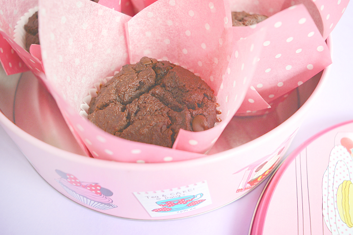 Healthy Double Chocolate + Banana Muffins