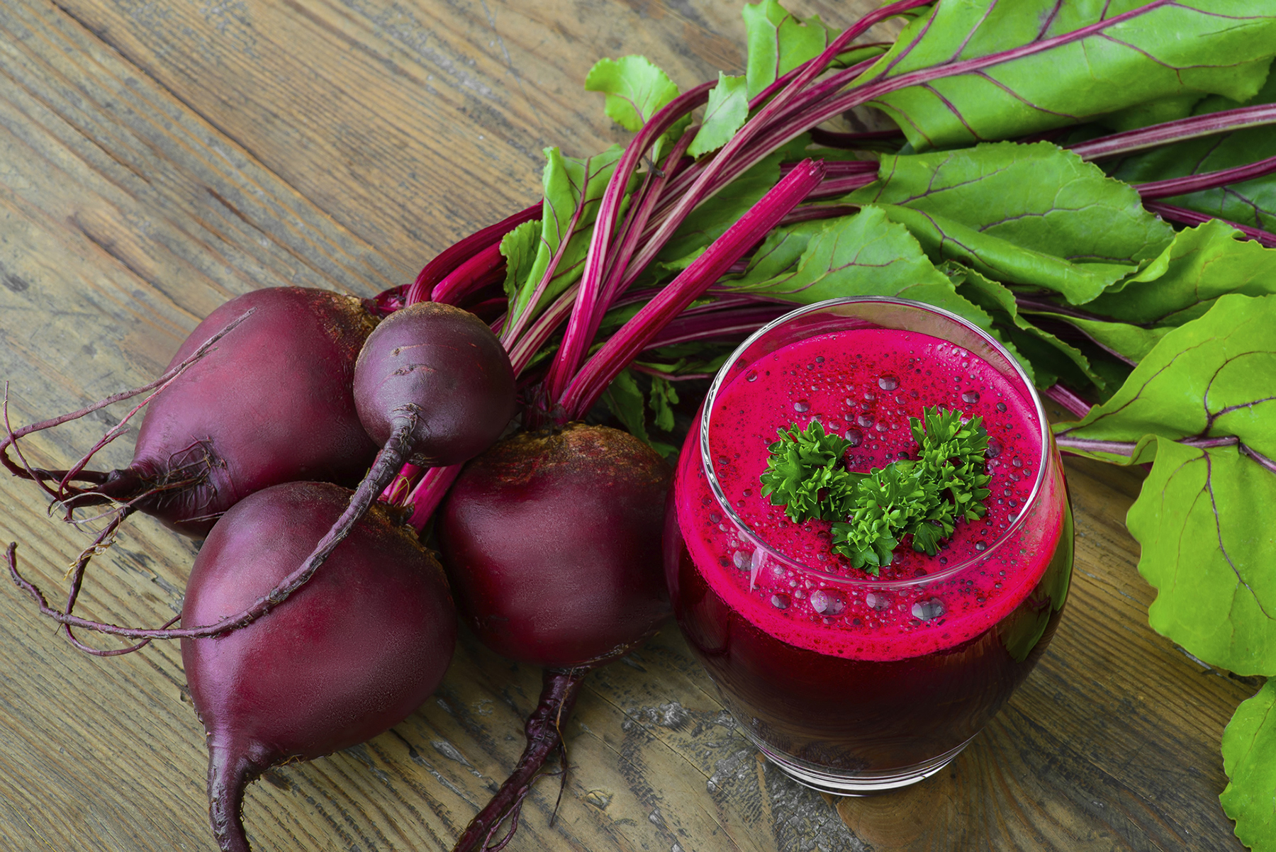 Glass of Beetroot Juice with Bunch of Beetrrot