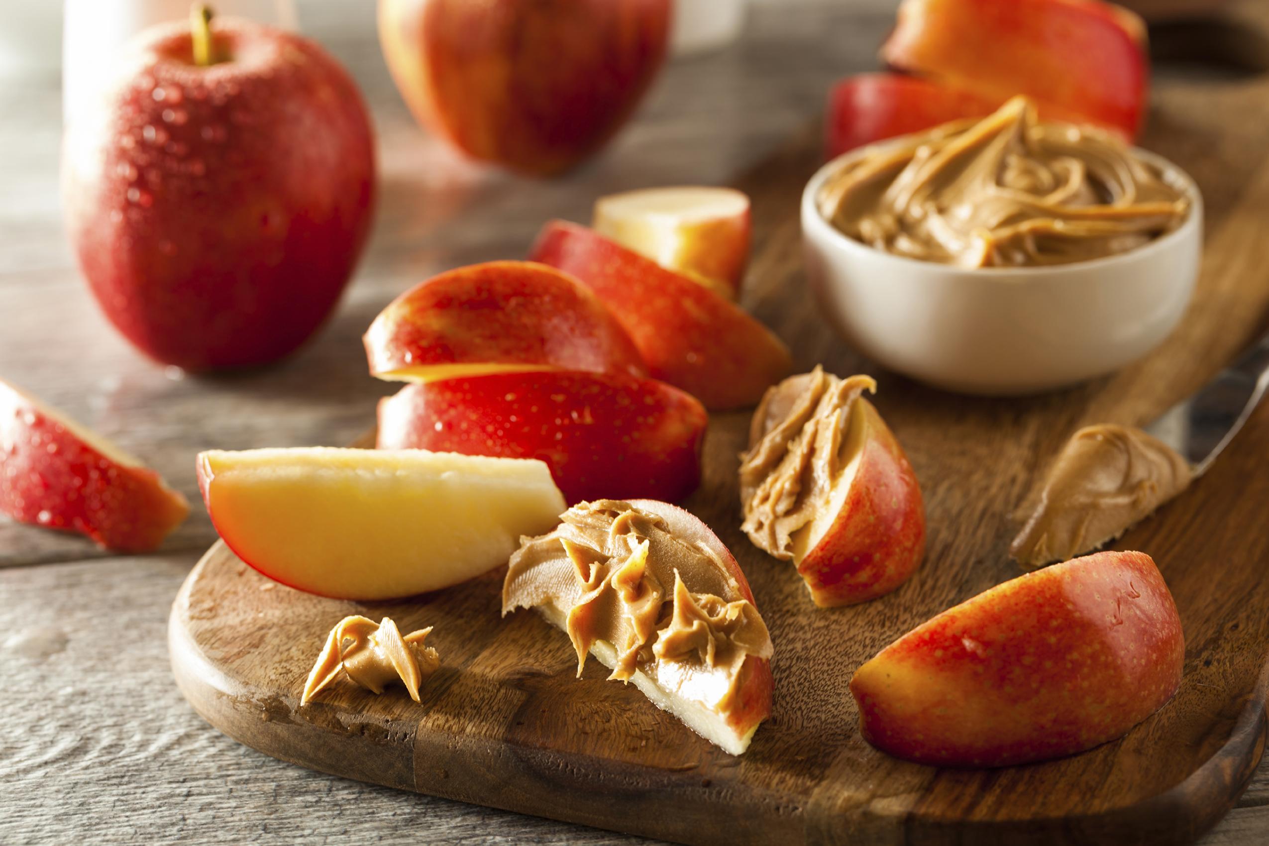 Peanut Butter Spread on Apple Slices