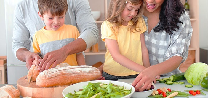 Parents and children cooking