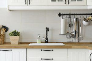 Scandinavian Style Kitchen with Hanging Utensils