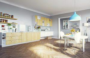 Scandinavian Style Kitchen with Light Wooden Floor
