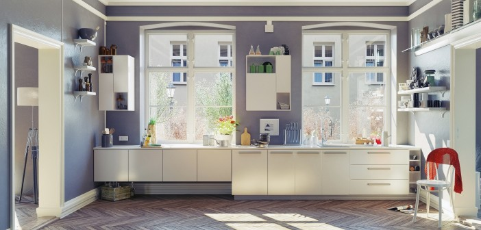 Minimalist Style Kitchen with White Cabinets