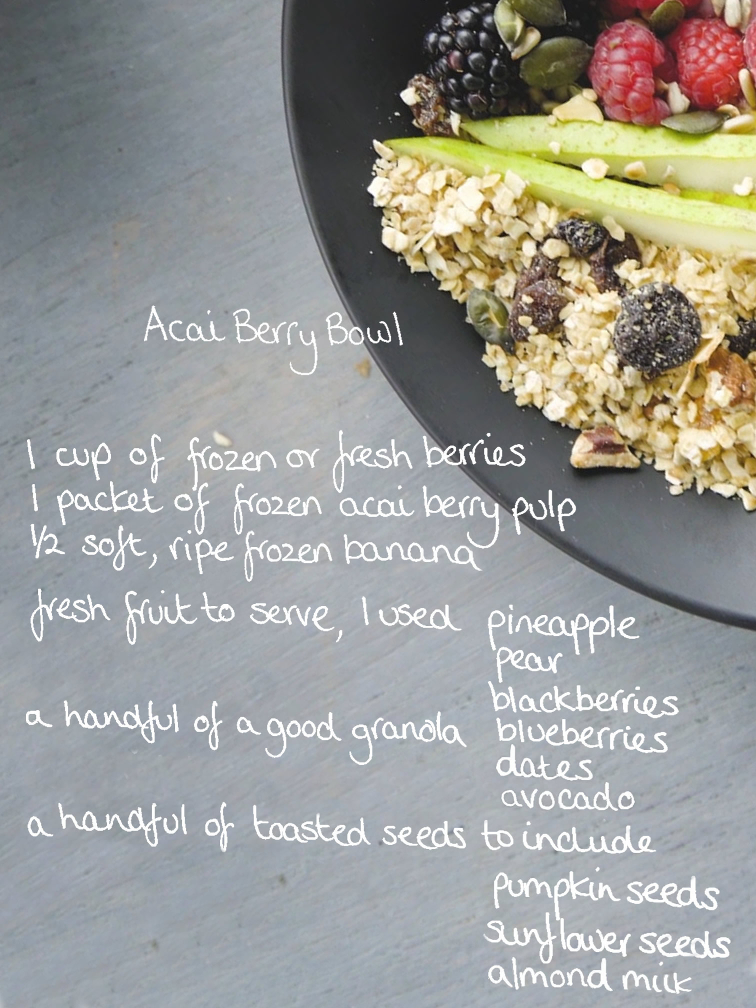 Acai Berry Bowl Ingredients List
