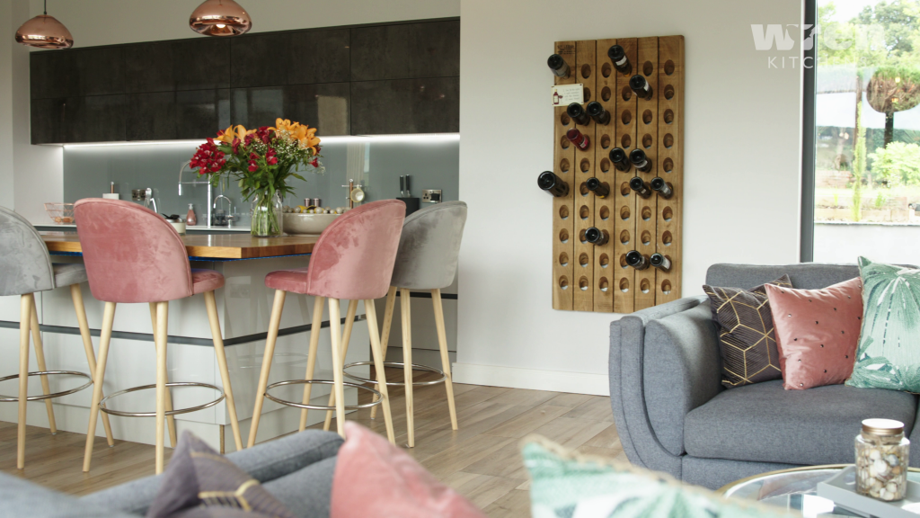 Milano contour kitchen with unique wall storage for wine