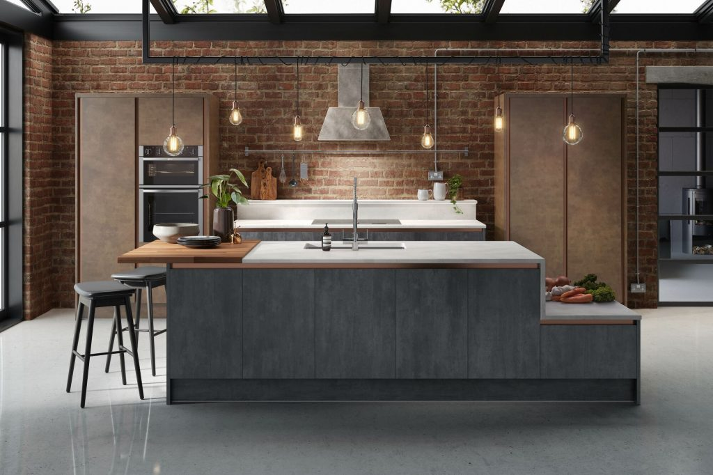 Exposed industrial kitchen lights