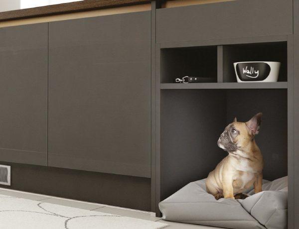 Dog bed under kitchen countertop